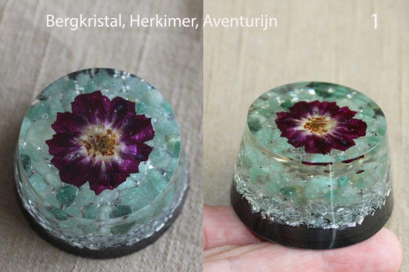 orgonite van 1. aventurijn, bergkristal en herkimer